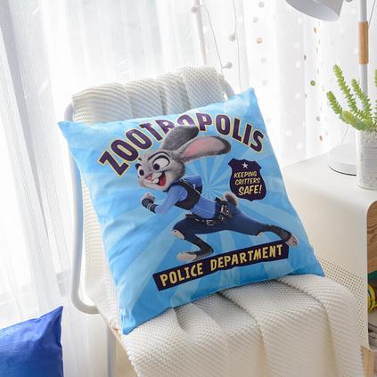 Disney迪士尼瘋狂動物城3D暖絨陪伴抱枕卡通風格抱枕沙發辦公室汽車腰靠墊腰枕定制 46x46cm