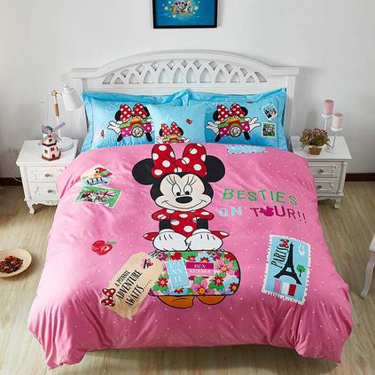 Disney 迪士尼 歡樂童年親膚棉四件套 卡通兒童件米妮四件套男女孩全棉宿舍卡通四件套定制200x230cm
