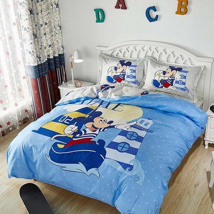 Disney迪士尼 開心童年親膚棉四件套 米奇兒童件套纖維男女孩宿舍卡通四件套床上用品定制 200x230cm