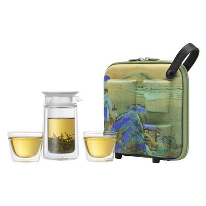 哲品月影千里江山圖便攜式旅行玻璃功夫茶具套裝定制
