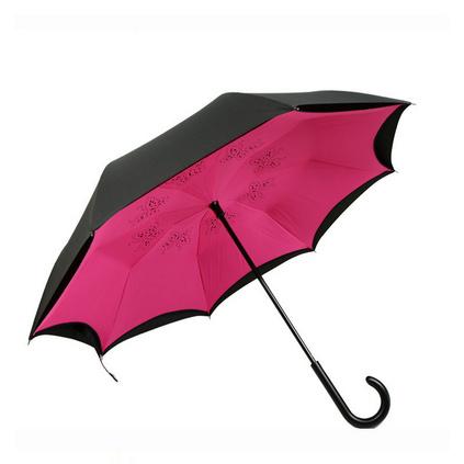 汽車反向傘 雙層玫瑰花反轉雨傘 男女士免持商務傘
