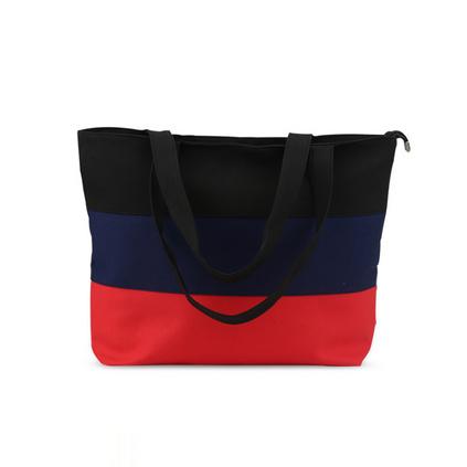 韓版三色拼接帆布袋女單肩包 休閑逛街袋購物袋定制