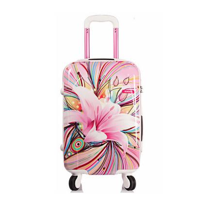 韓版時尚旅行箱20寸ABS+PC百合花甜美淑女行李箱萬向輪拉桿箱定制