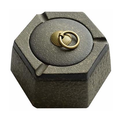 創意陶瓷煙灰缸帶蓋家用中式復古粗陶煙灰缸定制