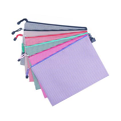 單層065牛津布A4文件袋 防水帆布拉鏈袋 條紋資料袋定制