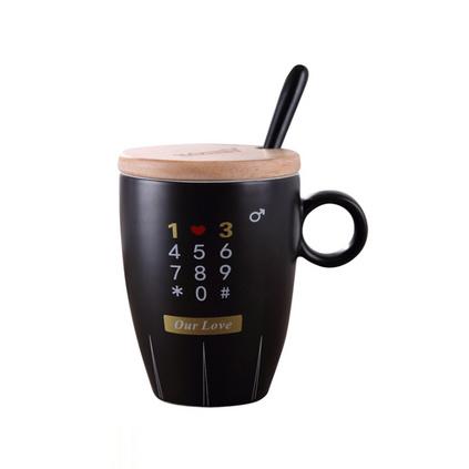 陶瓷黑白杯具套裝 情侶對杯創意辦公室馬克杯帶蓋勺結婚伴手禮物定制