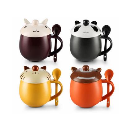 時尚創意情侶動物陶瓷水杯帶蓋帶勺可愛陶瓷馬克杯帶蓋馬克杯定制
