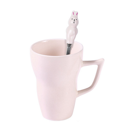 粉色馬克杯帶蓋勺水杯陶瓷簡約個性創意公主學生杯子定制