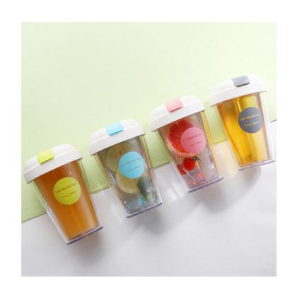 韓版大容量透明成人吸管塑料水杯簡約咖啡奶茶隨手杯子定制