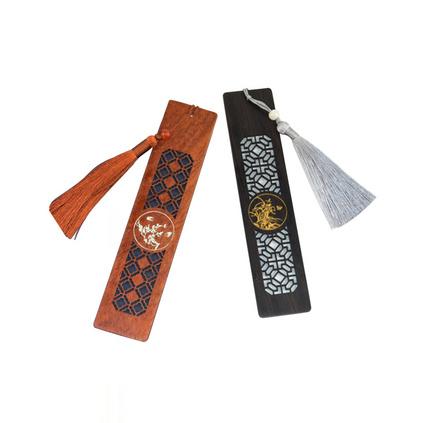 描色縷空書簽套裝 紅木文化禮品 高校周年慶典活動禮品定制