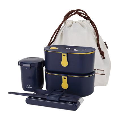新款雙層便當盒日式保鮮盒餐盒可微波爐加熱飯盒保溫盒定制