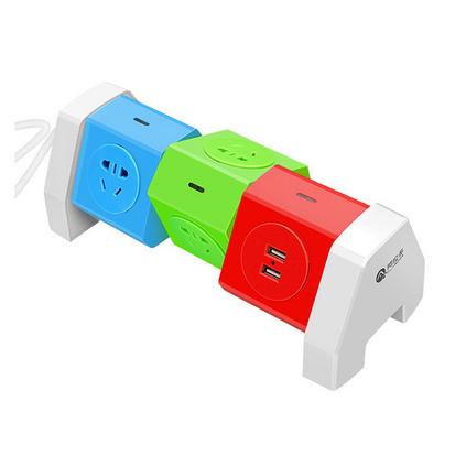 2.1A智能USB快速充電創意旋轉插線板 帶線防雷防過載保護插排插座定制