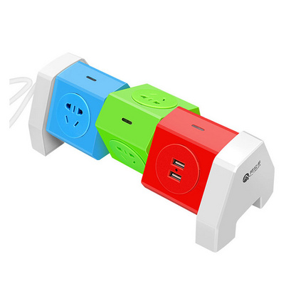 2.1A智能USB快速充电创意旋转插线板 带线防雷防过载保护插排插座定制
