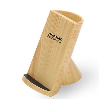 快速無線充 手機通用木紋筆筒手機立式快充無線充電器定制