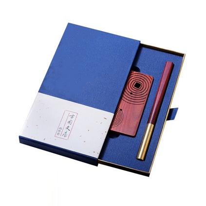中國風紫檀方圓紅木筆 名片夾古典辦公文具用品定制