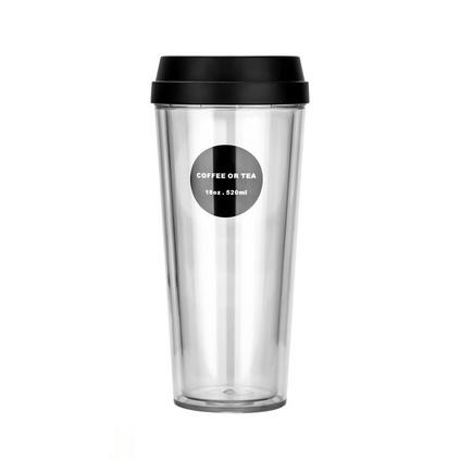 韓版簡約雙層隔熱透明咖啡奶茶隨手杯大容量推蓋塑料水杯定制