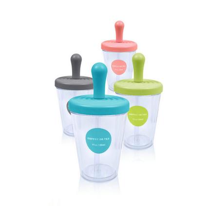 新款雙層塑料杯 隔熱吸管杯 可樂杯 飲料水杯塑料杯定制 320ml