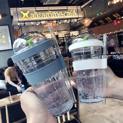 創意個性樹苗塑料成人吸管杯果汁杯奶茶水杯潮流帶蓋便攜兒童杯子定制