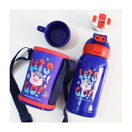 豬豬兒童吸管保溫杯不銹鋼真空雙蓋保溫杯水壺  定制