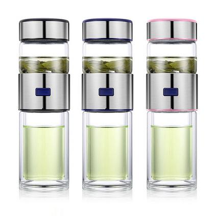 茶水分離杯雙層玻璃杯泡茶車載商務禮品保溫杯   定制