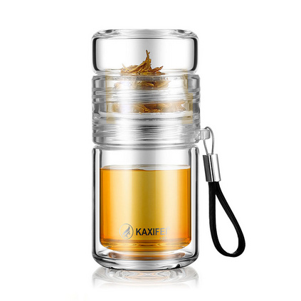 卡西菲新款玻璃杯tritan材質泡茶杯茶水分離玻璃杯  定制