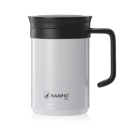 高檔商務辦公杯真空保溫杯316不銹鋼帶手柄泡茶杯   定制