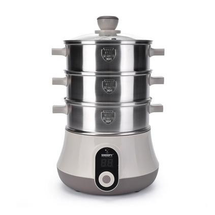 史努比 蒸鍋SP-N391-B 電煮鍋電火鍋多功能家用電熱鍋不銹鋼三層大容量蒸鍋定制