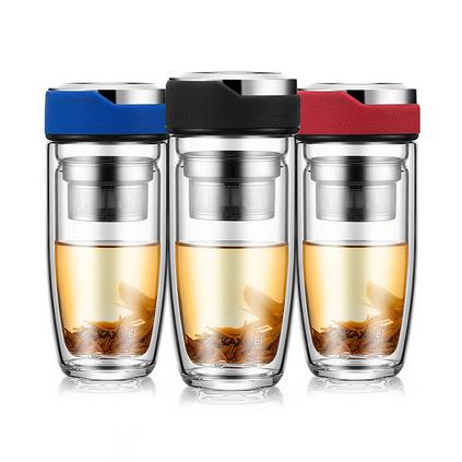 新款卡西菲鵝蛋雙層玻璃杯車載便攜杯子   定制