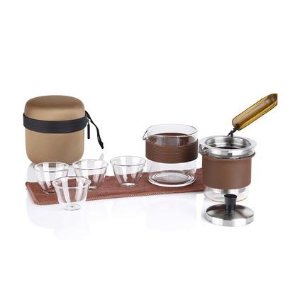 IKE一柯旅行茶具便攜式茶具套裝YK-C602A耐熱玻璃茶具禮品裝定制