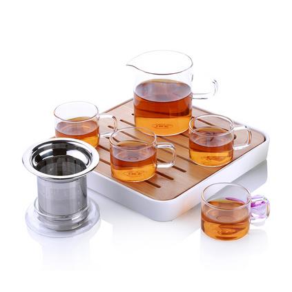 IKE一柯旅行茶具套装YK-C608A高硼硅玻璃茶具礼盒装耐热玻璃公道杯茶具定制