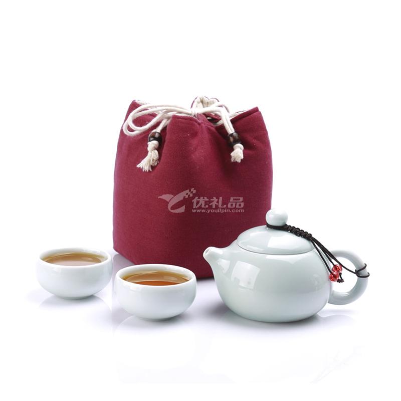IKE一柯旅行茶具YK-C306A青瓷旅行茶具一壺二杯茶壺茶杯定制