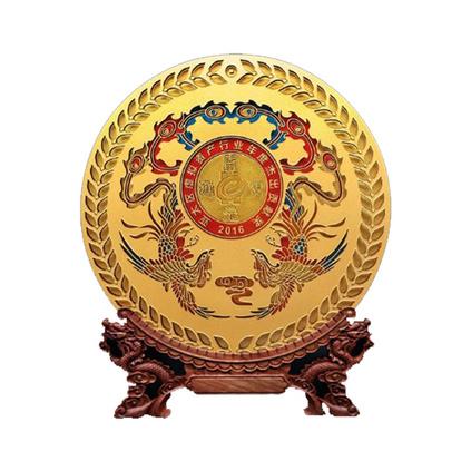百福年終答謝禮品創意圓盤工藝品定制