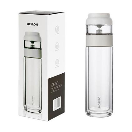 德世朗(DESLON)清揚雙層玻璃帶蓋泡茶杯便攜水杯帶茶倉透明杯子隨手杯定制