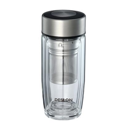 德世朗(DESLON)玻璃杯雙層水杯水悅生活網格 DSYB-260 泡茶杯定制
