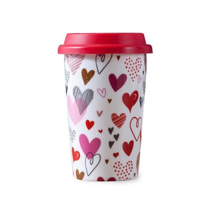 無把雙層硅膠陶瓷杯 帶硅膠蓋防燙隔熱杯子套裝創意卡通咖啡杯定制