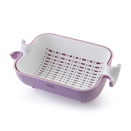 博堡 旋轉多用瀝水籃 BDY-S003A 家用塑料瀝水籃雙層水果籃定制