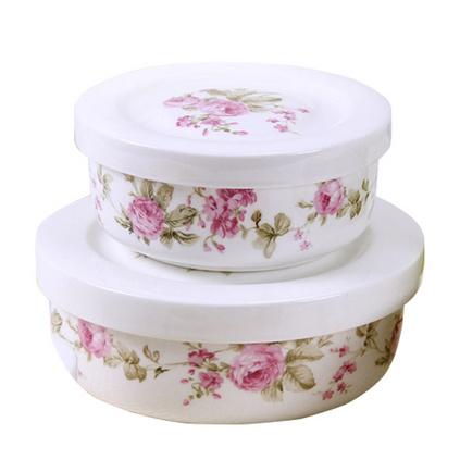 朵彩 唐山骨質瓷密封碗陶瓷保鮮碗四件套帶蓋密封碗定制