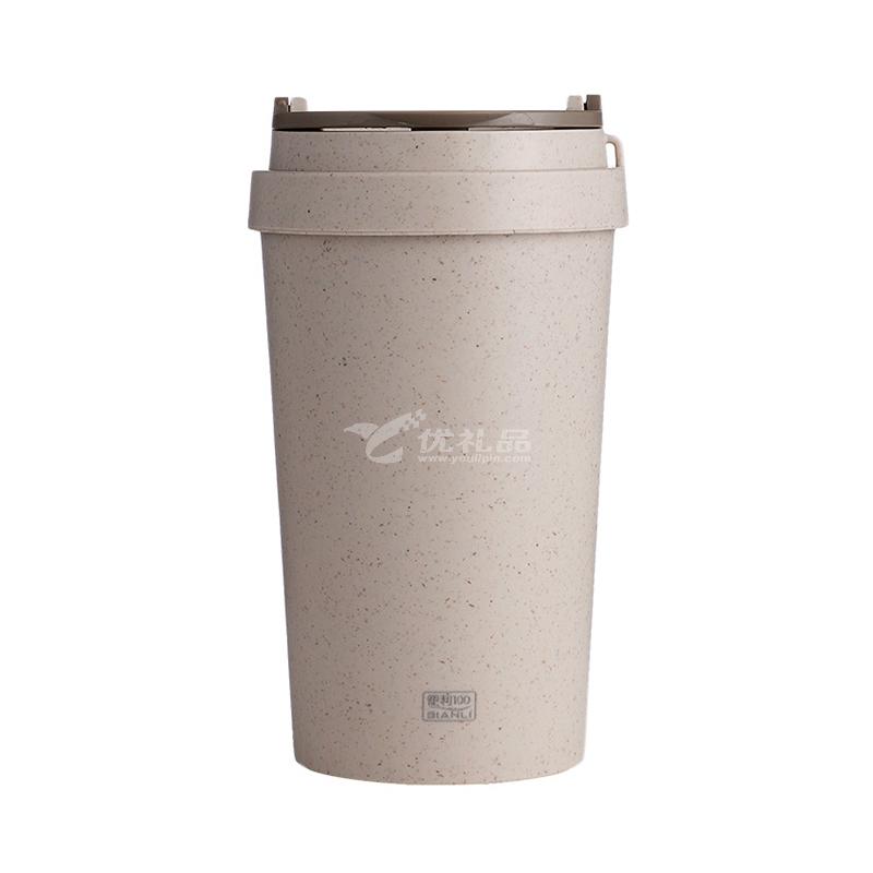 便利100天然秸稈塑料水杯 雙層麥香杯 辦公咖啡杯定制