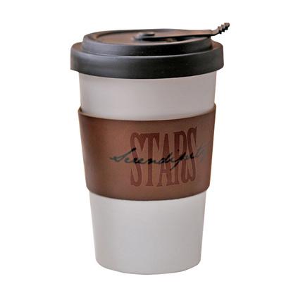 37度原创 北欧ins风带盖皮革随手杯 隔热陶瓷咖啡杯 创意便携水杯定制