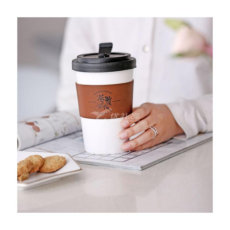 37度原創 北歐ins風帶蓋皮革隨手杯 隔熱陶瓷咖啡杯 創意便攜水杯定制