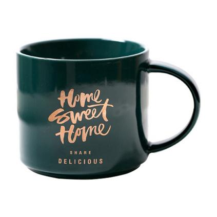 37度生活 北歐風綠金系列陶瓷咖啡杯 個性水杯 創意馬克杯定制