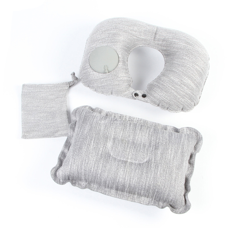 旅行便攜U型充氣枕頭坐火車飛機睡覺神器戶外吹氣腰枕護腰靠腰墊定制