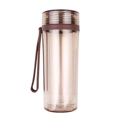 便利100塑料杯高硼硅玻璃內膽塑玻雙層杯隔熱防燙隨手杯定制