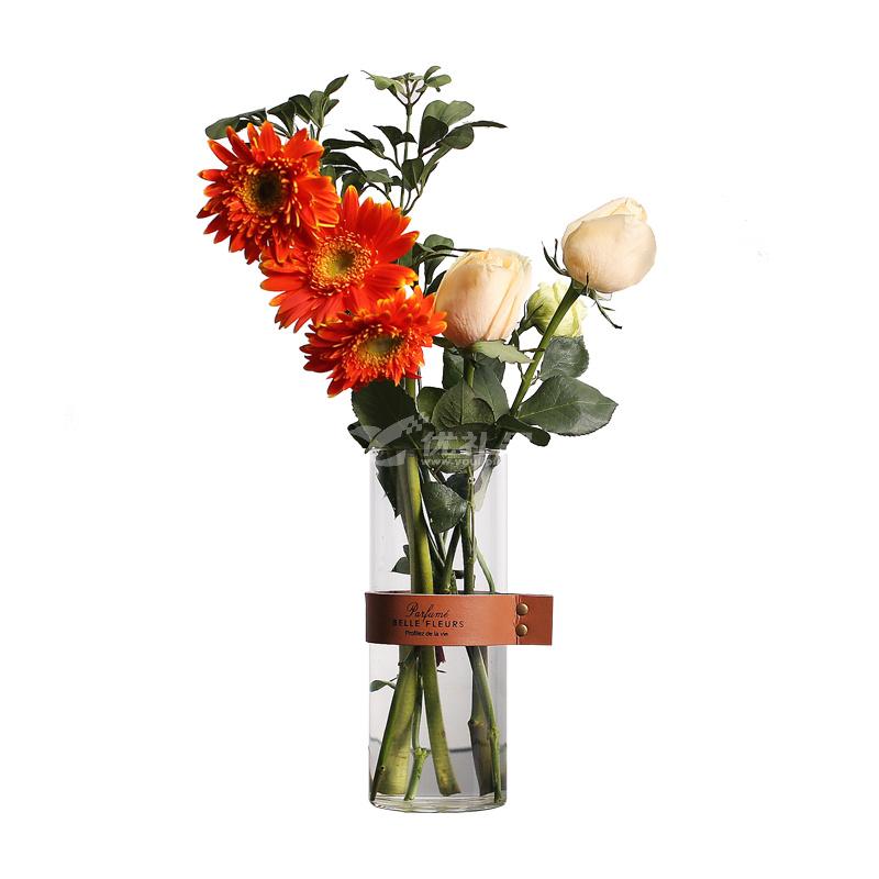 37度原創 創意皮革玻璃花器大號 北歐簡約透明玻璃花瓶定制