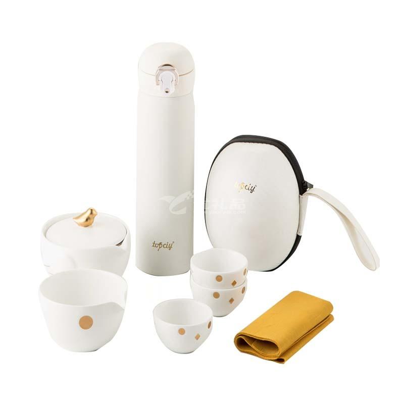快樂旅途小鳥旅行套裝便攜出差保溫杯茶具套裝定制