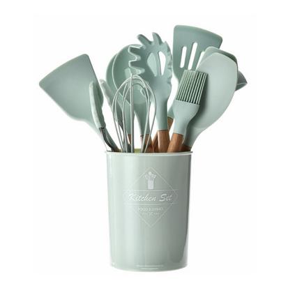 收纳桶装清新绿木柄硅胶厨具工具11件套定制