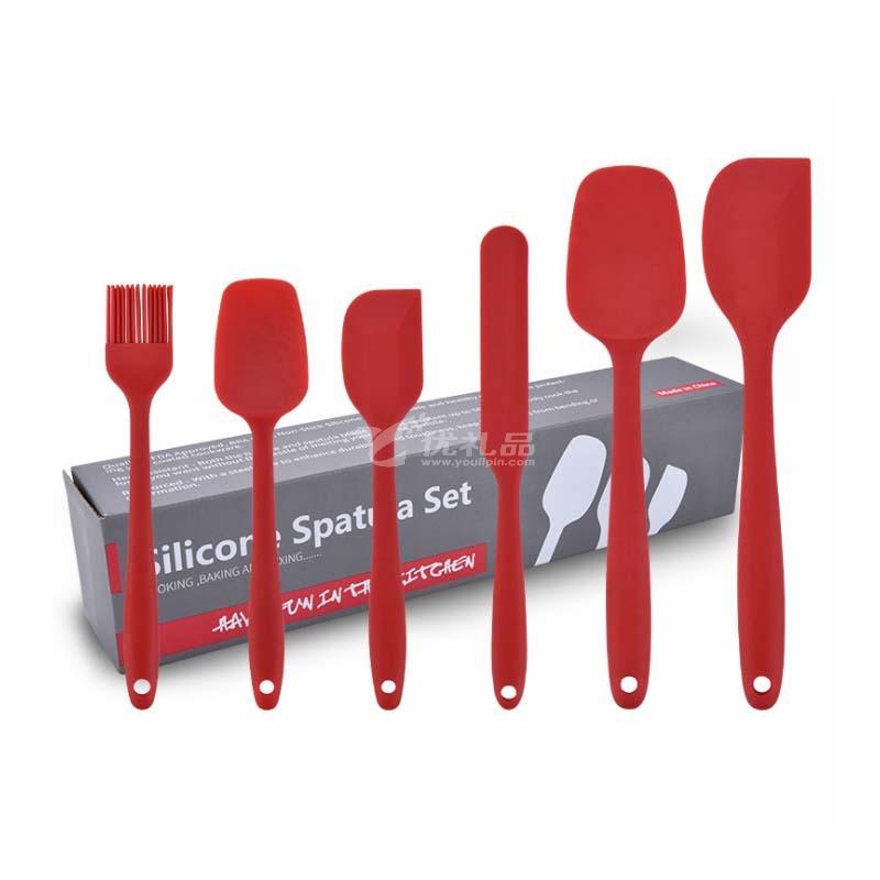 硅膠廚具6件套奶油刮刀六件套烘焙工具抹刀油刷套裝定制