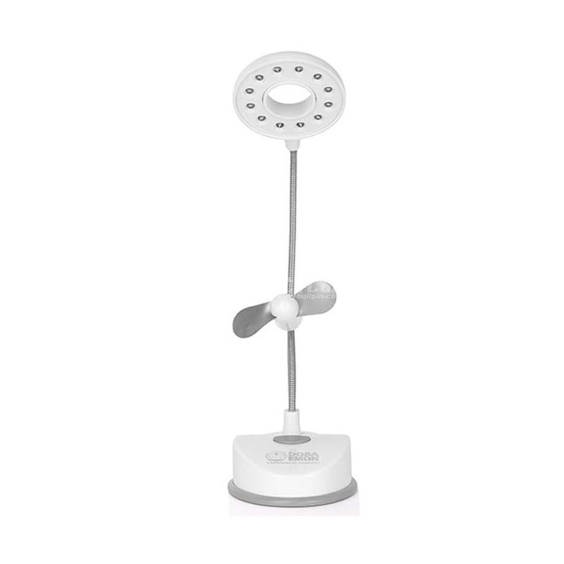 哆啦A夢DM-6106A(白色)宿舍家用帶小風扇臺燈 充插兩用臺燈定制
