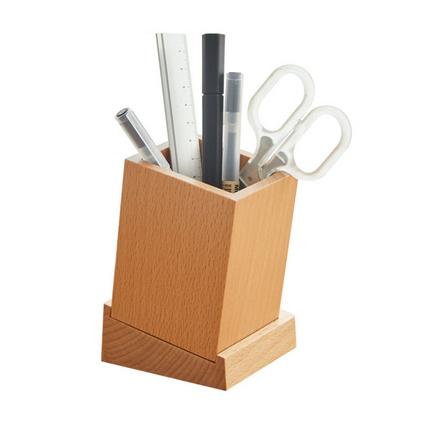 木質筆筒創意多功能辦公用品收納盒無印風格木制筆筒定制