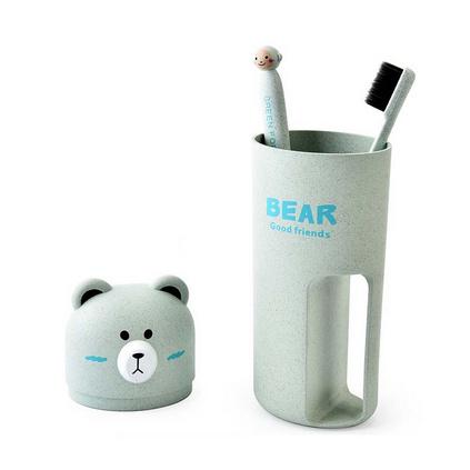 卡通小麥秸稈小熊旅行便攜帶手柄洗漱杯套裝竹炭牙刷收納座收納杯定制